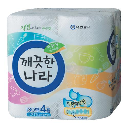 깨끗한나라 아낌이 키친타월 130매 (4롤)[1팩(4롤)]