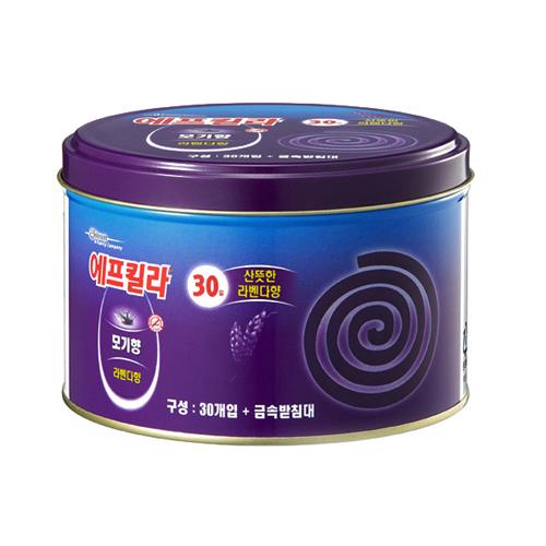 한국존슨 에프킬라 모기향 라벤더 캔코일[1팩(30개)]